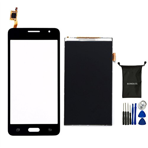 Sunways Glass Lens Screen With Touch Digitizer Replacement (Black) + LCD Display Digitizer Screen Replacement For Samsung Galaxy Grand Prime G530 G530F G5308 With device opening - Need I Frames Have Lenses