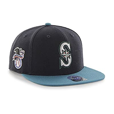 MLB Seattle Mariners Sure Shot Two Tone Captain Adjustable Snapback Hat, Navy, One Size