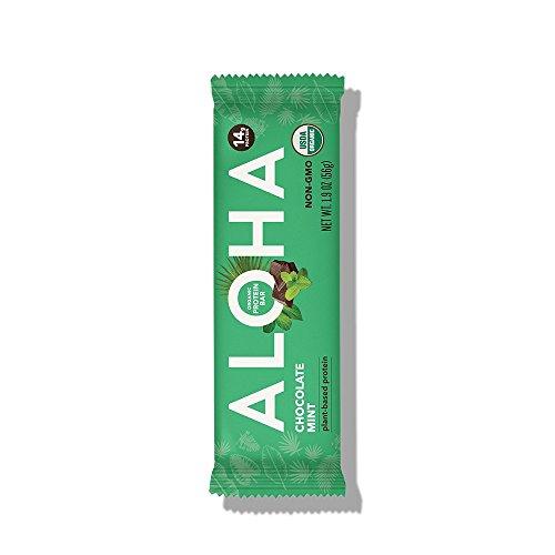 ALOHA Organic Plant Based Protein Bar, Chocolate Mint, Vegan, 1.9 oz, 12 Bars (Bars Chocolate Cliff Mint)