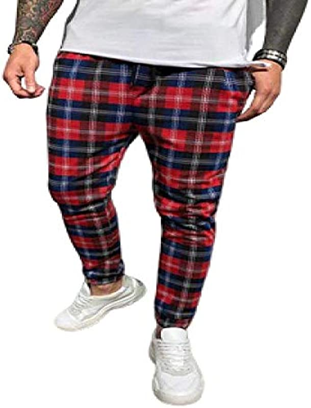 N/ A spodnie męskie Plaid 3D druk cyfrowy spodnie na czas wolny kolory, na wszystkie pory roku: Odzież