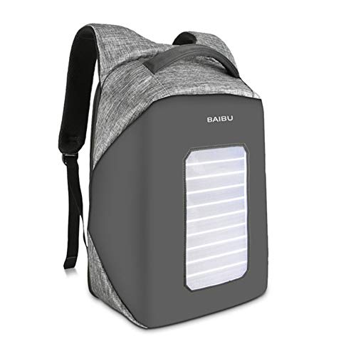 YongFeng Solar Charging Backpack Men's Anti-Theft Laptop Bag Travel Waterproof Backpack Student Bag JF (Color : Grey)