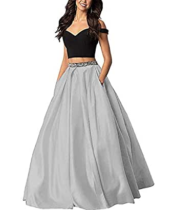 Sophie Women's Long Off The Shoulder Two Piece Beaded Prom