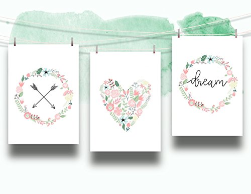 Set of 3 Floral Dream Nursery Cardstock Prints - 8.5 x11'' Arrow, Heart and Pastel Floral Wreath Dream by June & Lucy