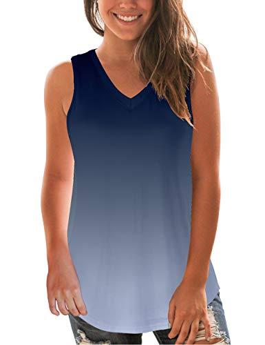 (NIASHOT Tank Tops for Women Ombre Color Sleeveless Basic V-Neck Summer T-Shirt Navy S)