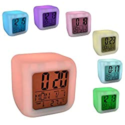 Bedroom Dice LED Digital Alarm Clock, Cube Alarm Clock 7 Colors Change Wake Up Bedside Clock Night Glowing with Thermometer & Alarm & Date Gifts for Kids Girls Bedroom Birthday, Christmas