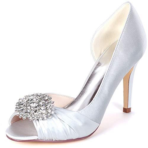 Plataforma Eleoulck Espumosa Zapatos Las Satin High Mujeres 9cm Toe Boda Silver Low Heels Rhinestones Satén Peep De wXBCgXq