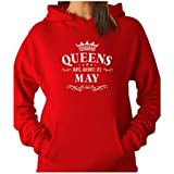 Tstars TeeStars - Birthday Gift For Women - Queens Are Born In May Women Hoodie Large Red