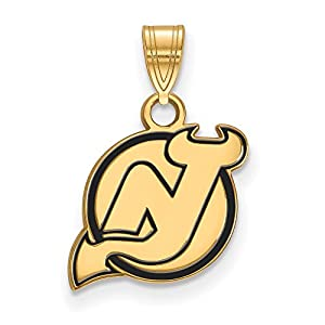 New Jersey Devils Small (1/2 Inch) Enamel Pendant (Gold Plated)