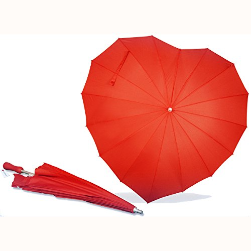 AoGV Forever Love Parasol Red Heart Shaped Girls Umbrella for Valentine, Wedding, Engagement and Photo -