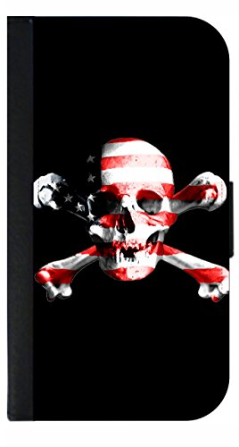 Patriotic Skull and Crossbones - Wallet Style Flip Phone Case Compatible with s3/s4/s5/s6/s6edge/s7/s7edge/s8/s8Plus - Select Your Compatible Phone Model -