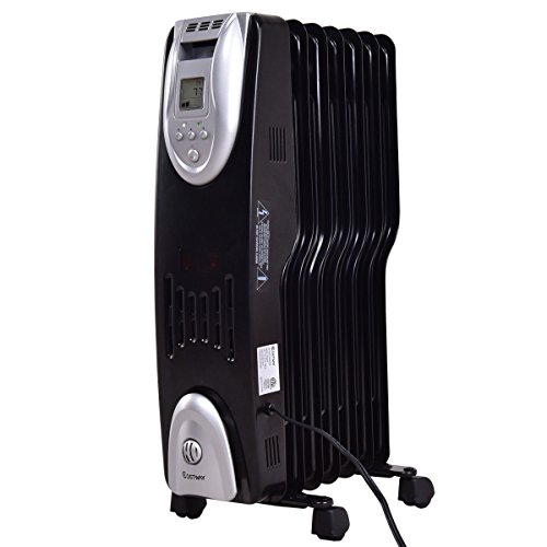 Costway Oil Filled Radiator Heater Portable Electric Whole Room Digital adjustable Thermostat w/ Time Control COSTWAY Oil Filled Heaters