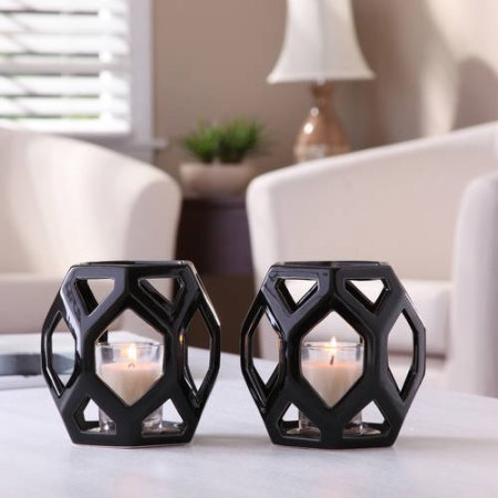 Set of 2 Better Homes and Gardens Ceramic Geometric Votive Candle Holders, Black