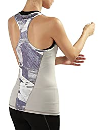 Yoga Reflex Women\'s Activewear Printed Knit Racerback Sports Tank Tops , Marblepiece , Medium