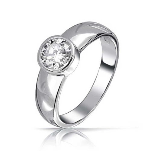Bling Jewelry Sterling Silver Round CZ Solitaire Engagement Ring Bezel Set