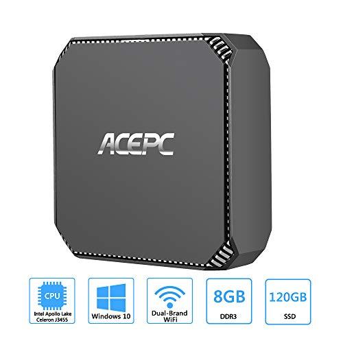 ACEPC AK2 Mini PC,Intel Celeron J3455,Windows 10 Mini Computer,8GB RAM/120GB mSATA SSD,4K HD Graphics,Gigabit Ethernet,Dual Band Wi-Fi,Bluetooth 4.2 from ACEPC