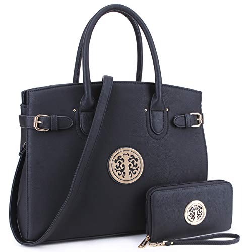 DASEIN Women Purses and Handbags Shoulder Bags Ladies Tote Bags Satchel with Wallet (01- Black)