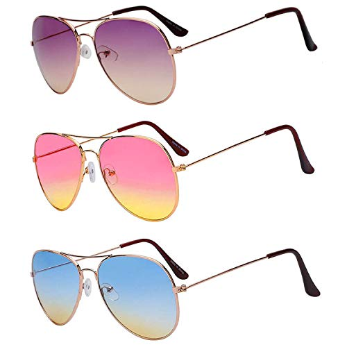 3 Pairs Aviator Glasses 2 Tone Lens Assorted Mix Color Purple Pink ()