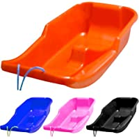 BARGAINS-GALORE KIDS HEAVY DUTY SNOW SLEDGE TOBOGGAN SLEIGH SLED ROPE PLASTIC ADULTS SKI BOARD