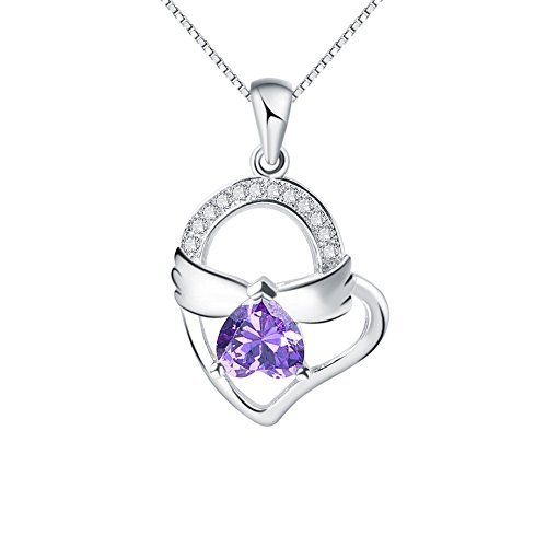 You Are The Angel In My Heart- Sterling Silver Pendant Necklace with SWAROVSKI Crystal, Purple, 18″