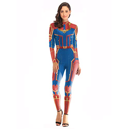 Captain Marvel Costume Carol Danvers Jumpsuit One Piece Women Superhero 3D Bodysuit Red ()