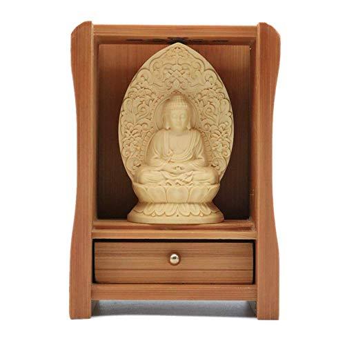 EBISSY Buddha Statue Small Hand Carved Wooden Box Home Decor Mini Buddhist Altar Portable Temple Amitabha Box