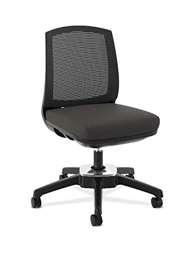 HON Active Task Chair - Armless Computer Chair for Office Desk, Black Mesh (HVL951)