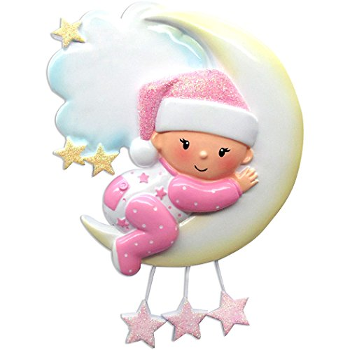 Personalized Baby on Mr. Moon Christmas Tree Ornament 2019 - Girl Pajamas Glitter Sleep Hat Hug Bed Cloud Stars New Mom Shower Gift Grand-Daughter Kid Pjs Mobile Year - Free Customization (Pink)
