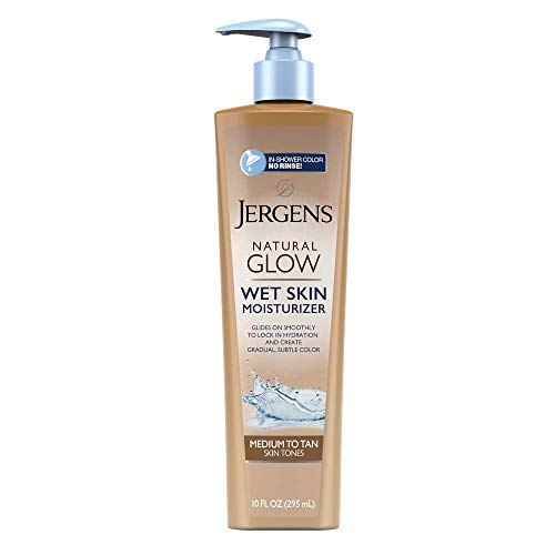 Jergens Natural Glow In-shower Moisturizer, Medium to Tan Skin Tone, 10 Fl Oz Wet Skin Lotion, Locks in Hydration with Gradual, Flawless Color from Jergens