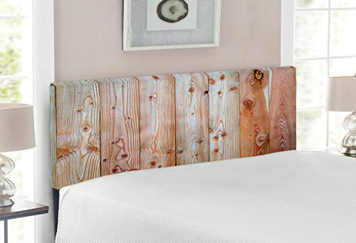 Lunarable Rustic Headboard, Monochrome Wood Design Minimalist Rough Rustic Tiled Logs Row Plank Surface Texture Image…