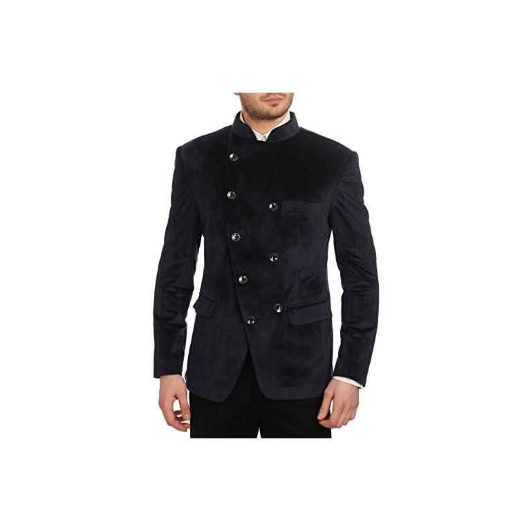 41bJPuiA%2BbL. SS768  - Wintage Men's Velvet Grandad Collar Blazer
