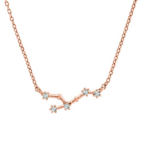 PAVOI 14K Rose Gold Plated Astrology Constellation Horoscope Zodiac Necklace 16-18