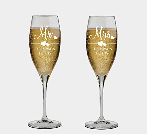 (Mr and Mrs Wedding Toasting Champagne Flutes, Set of 2, Laser engraved Tosting Flutes Engraved Personalized Glasses for Bride and Groom)