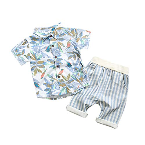 BAOBAOLAI Summer Baby Boys Outfits Leaf Print Hawaiian Style Holiday Shorts Set Stripe Pants 2pcs Toddler Clothing Blue