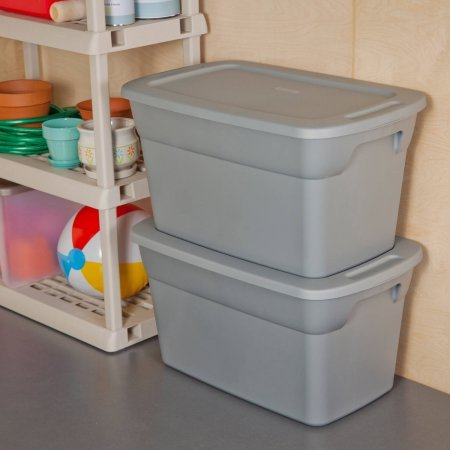 Sterilite 30 Gallon Tote Box- Steel (Available in Case of 6 or Single Unit) (30 Gallon Tote)