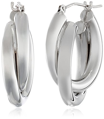 White Gold Double Hoop - 14k White Gold Double Tube Hoop Earrings