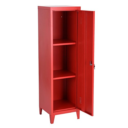 Lockable Cupboard - HouseinBox Office File Storage Metal Cabinet 3 Door Cupboard Locker Organizer Console Stand 3-in-1 (RED-Standing Locker)