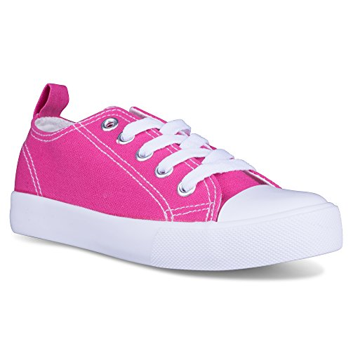 [SAV102-PINK-5] Girls Canvas Sneakers - Pink Tennis Shoes, Toddler Size (Toddler Shoe Size)