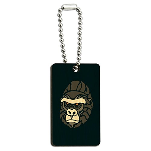 Gorilla Keychain (Gorilla Face Wood Wooden Rectangle Keychain Key Ring)