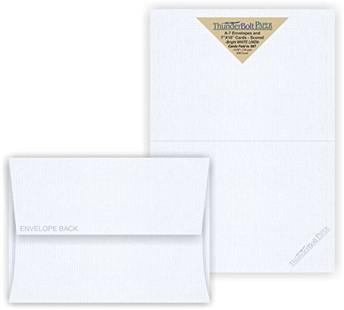 5X7 Folded Size with A-7 Envelopes - Bright White Linen - 15 Sets (7X10 Cards Scored to Fold in Half) Blank Matching Pack Invitations, Thank Yous, Notes, Occasions -80# Cardstock by ThunderBolt Paper