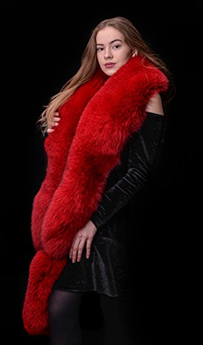 Royal Saga Furs Volcano Red Blue Fox Fur Handmade Shoulder Wrap Scarf Boa Stole by Your Furrier