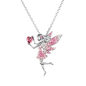fairy necklace for teen girls birthstone pendant gift for girls white gold plated austrian crystal jewelry gift