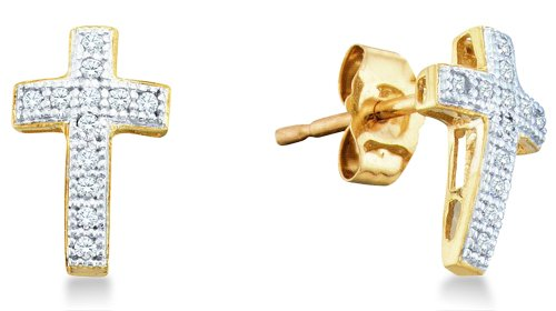 10K Yellow and White Two Tone Gold Micro Pave Set Round Diamond Cross Stud Earrings with Push Back Closure (1/10 cttw)