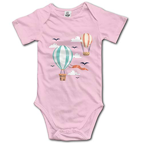 Baby Climbing Clothes Set Hot Air Balloon Bodysuits Romper Short Sleeved Light Onesies Pink -