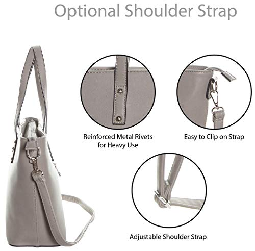 Faux Leather Tote Bag For Women - Convertible Crossbody Tote And Handbag - Top Handle Satchel Purse With Top Zipper Closure (PEWTER) by Pier 17 (Image #1)