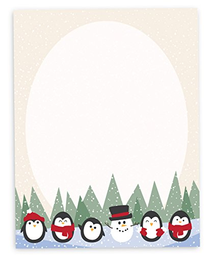amazon com winter penguin letterhead christmas holiday stationary