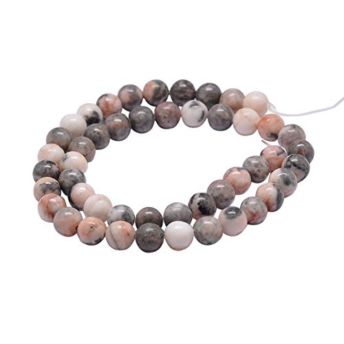 PH PandaHall 5 Strands 8.5mm Natural Pink Zebra Jasper Gemstone Round Loose Stone Beads for Jewelry Making 15.2