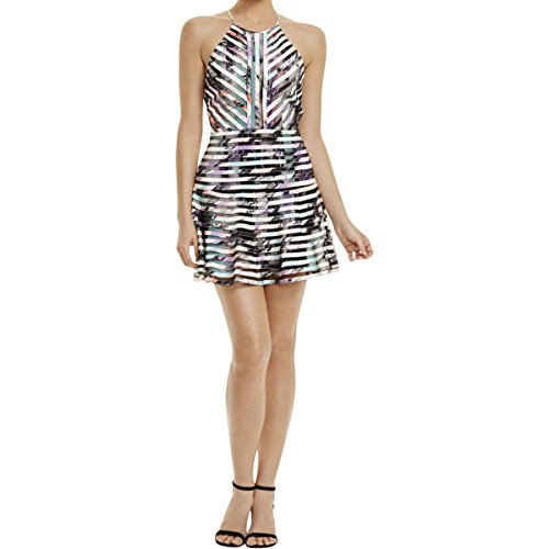 Parker Womens Mesh Inset Printed Party Dress Multi M - Parker Mesh