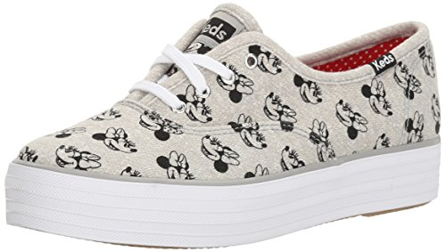 Keds Womens Triple Minnie Screen Print Jersey Fashion Sneaker Gray