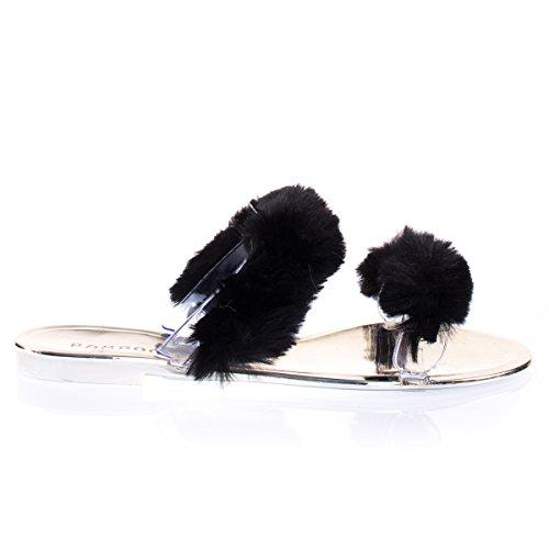 Faux Marabou Pom Pels Lysbilde Flip Flop Sandal, Kvinner Klar Lucite Flat Tøffel Blkfur