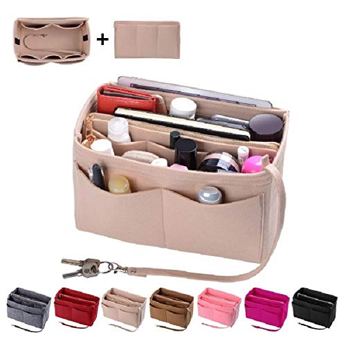 Purse Organzier, Bag Organizer with Metal Zipper (Medium, Beige) ()